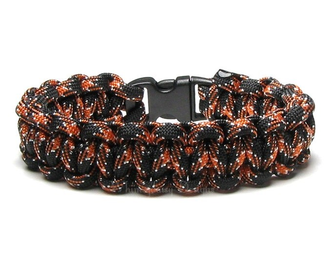 Paracord Bracelet Harley Black Orange Survival Accessory Outdoors Biking Hiking Military Mom Veteran Gifts Motorcycle His And Hers Men Women