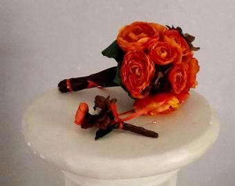 Fall Bridal party Bouquet Orange silk Destination autumn Wedding flowers Accessories Budget Brides Maids boutonniere Destination