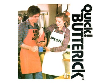 Unisex Apron Pattern Uncut Butterick 6663 His and Hers Monogrammed Full Bib Aprons Oven Mitts Pot Holders Pattern Vintage Sewing Patterns
