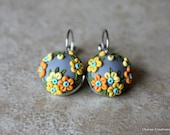 Lovely Polymer Clay Applique Earrings