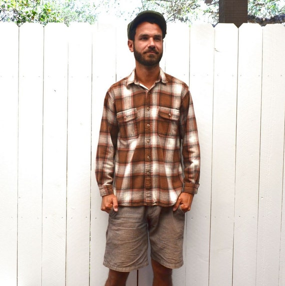 Plaid shirt jacket 80s vintage brown white by for Brown and black plaid shirt