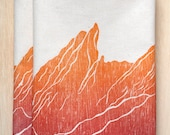 Colorado Mountain range kitchen towels, Boulder Flat Irons orange set of 2