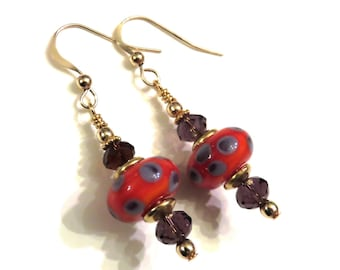 Red & Purple Polka Dotted Earrings With Swarovski Crystals, Purple Earrings, Red Earrings, Red Lampwork Earrings, Purple Lampwork Earrings