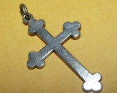 Vintage Sterling James Avery Cross Religious Pendant on Black Satin Cord