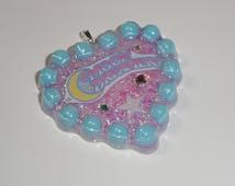 Retro Moon dreamers Glitter Resin Heart Necklace, glitter resin pendant, nostalgia, pink glitter, kawaii resin, 80s, swarovski crystal
