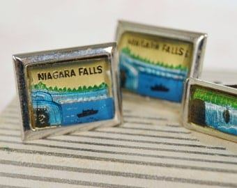 Vintage Tie Clip and Cuff Links Set of Niagara Falls