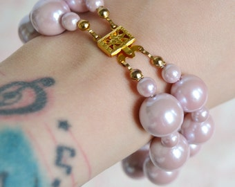 Vintage Bracelet with Iridescent Pastel Purple Beads