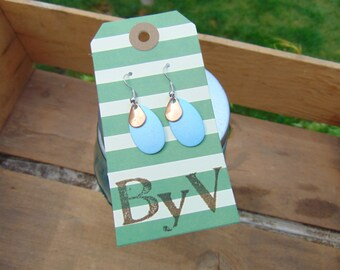 Two Tier  Mini Blue & Copper Earrings