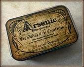 Arsenic - large pillbox tin / stash case