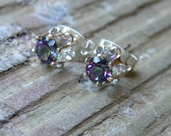 Alexandrite Mystic Topaz Stud Earrings in Sterling Silver Setting, Alexandrite Studs E143
