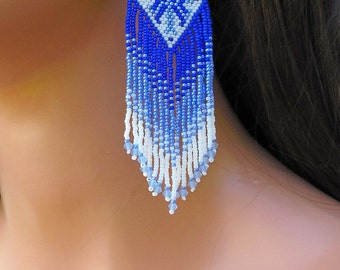 Blue & White Ombre Earrings - Seed Bead and Crystal - Beaded Fringe - 4 Inch Long Woven - Everyday Earrings - Diamond Shaped Beadwork