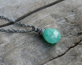 Bright Mint Green Chrysoprase Drop Necklace with Sterling Silver Chain.  Wire Wrapped Gemstone.