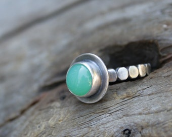 Chrysoprase and Dots Stacking Ring in Fine Silver and Sterling Silver Ball Bead Wire. US Size 7.5.