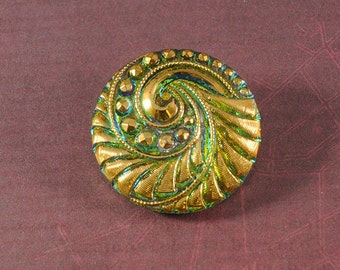 Czech Glass Button - Large 27mm - Emerald/Gold - Sold By The Piece