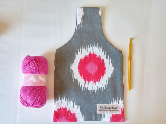 Grey, Pink, White & Maroon Reversible Yarn Bag for Crochet or Knitting S16