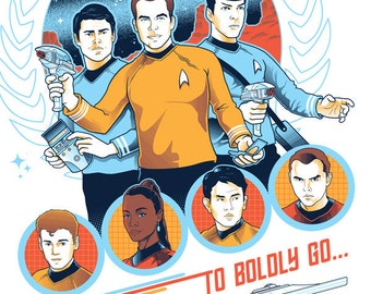 "To Boldly Go- 5 color screen print; 18"" x 24"""