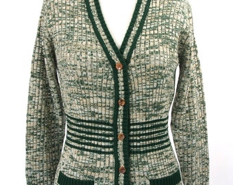 Green and White V Neck Cardigan Sweater