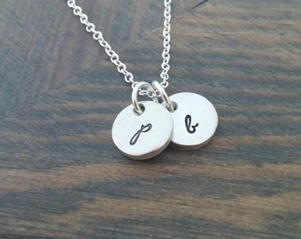 Personalized Necklace // Hand Stamped Jewelry // Initial Necklace // Initial Discs // Silver Initial Necklace // Monogram, Initials