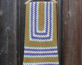 Vintage Crocheted Granny Afghan / 1970s Crocheted Afghan / Colorful Afghan