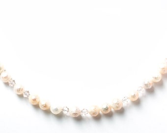 Pearl Crystal Necklace, Bridal Jewelry, Pink Pearl Necklace, Faceted Pearl Necklace, Wedding Jewelry, Pink Necklace, Valentines Jewelry