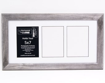 5x7 Collage- Driftwood Picture Frames with Multi 3 4 5 6 7 & 8 Opening Mat for Name Sign, Wedding Collage and Alphabet Photography