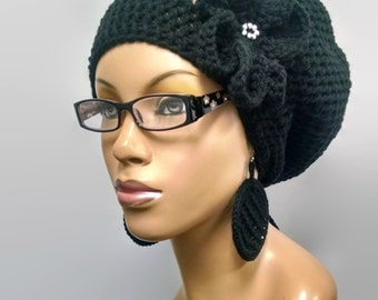 MADE TO ORDER Black Slouch hat/deadlock hat with drawstring/ free matching crochet earrings and detachable flower with silver beads