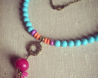 Multicolor Bohemian Stone Necklace. India-Inspired Necklace. Baby Blue and Orange Jade and Brass Necklace. Wire Wrapped. Colorful Necklace.