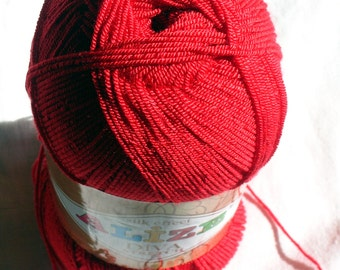 Alize Diva Stretch - elastic (resilient) yarn. Color red. Color 106. SALE! DSH(P3P1)