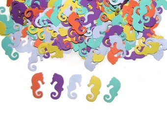 100 Colorful Tropical Seahorses-Punch Cut Embellishments