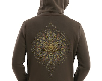 Sacred Geometry Hoodie Men, Mandala, Geometric Clothing, Zip Hoody, Burning Man Festival Psychedelic Psy Trance Uv Reactive
