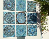 Set of 9 tiles // Ceramic tiles // Decorative tiles // Ceramic art // Hand painted tiles // Various designs // 30cm // Turquoise