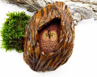 Ceramic Screech Owl Sculpture / Pottery Owl Woodland Theme Decor / Wall Hanging Plaque / Owl Nest / Owl Lover Gift / USA Handmade Wall Art