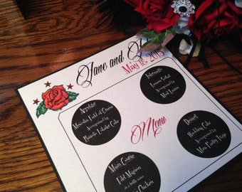 Rockabilly Table Menu - Rockabilly Wedding Menu