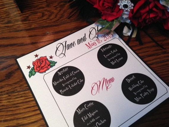 Rockabilly Table Menu - Rockabilly Wedding Menu