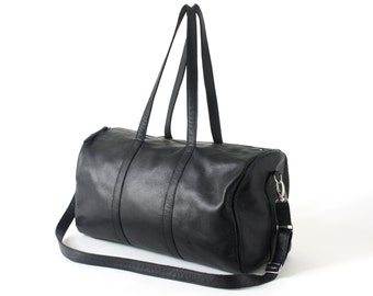 Leather Duffle Bag, Leather Weekend Bag, Overnight Bag, Gym Bag, optional with long removable strap, Black Soft Cowhide