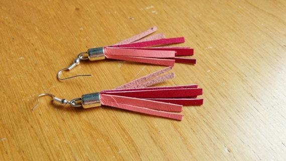 Leather earrings,leather drop earrings,pink earrings,red leather earrings,pink and red,leather dangle,pink red earrings,red earrings
