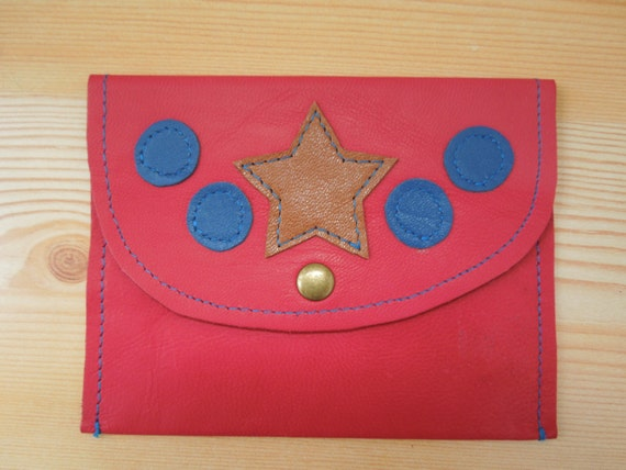 Stars coin purse, leather pouch, leather purse, leather coin purse, pink purse, hot pink leather, stars leather, star leather purse