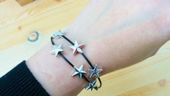 Stars cuff, stars bracelet, leather cuff, leather bracelet,black bracelet, rock bracelet, rock cuff, black leather cuff, black leather