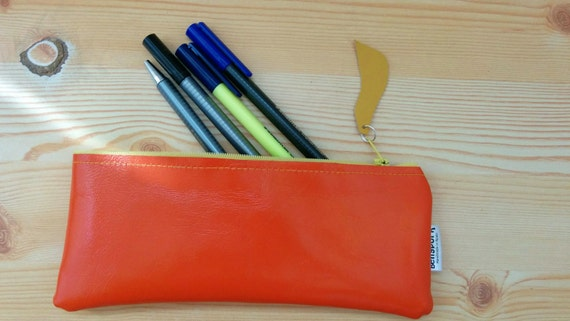 Leather pencil case, leather pencilcase, leather pouch, orange leather,orange pencil case, leather case,leather coin purse,yellow pencilcase