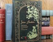 Book Clutch Purse- Jane Austen- Four Novels- Vintage Evening Bag- Deep Green, Gold-- - Convertible Handle