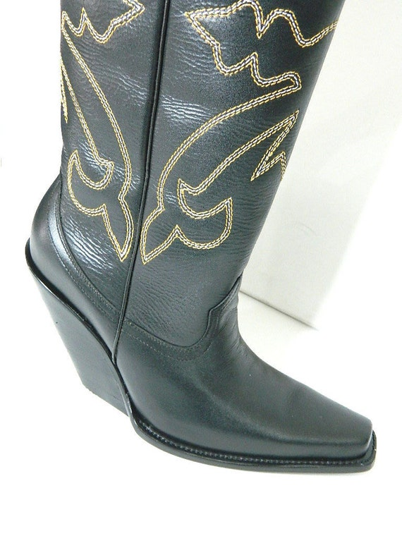 square toe cowboy boots flat tops and 4 inch slanted heels