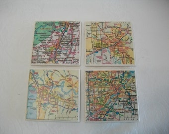 Tile Drink Coasters Made for Your Area / Custom Map Pages Ceramic Tile Coasters Set of 4 / Natural Edged Ceramic Tile Coasters