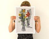 Wild Flowers on my legs Poster, A3 poster, anatomical art, anatomical art, home decor, Wall art, flower art poster, Flower poster BPSK096P