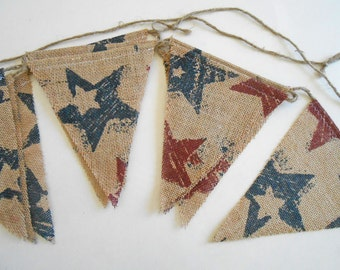 4th of July Patriotic Burlap Banner |  Red and Blue Stars 4th of July Banner | Burlap Americana Garland