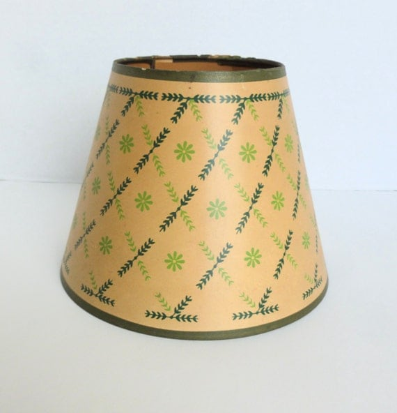 Cleveland Vintage Lighting Clip On Lampshade: Green Floral Lamp Shade Clip On Bulb Fitter Paper Parchment