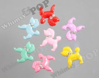 7 - MIXED Colors Kawaii Poodle Crystal Rhinestone Opaque Resin Decoden Cabochons, Dog Cabochons, 20mm x 18mm (R4-101)
