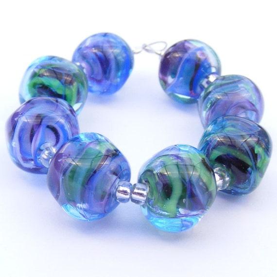 Handmade lampwork beads - set of 8 multi-coloured curvy cube lampwork glass beads