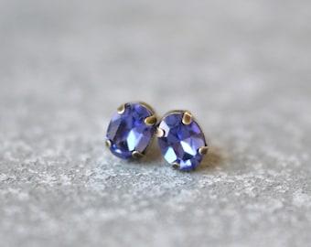Tanzanite Purple Stud Earrings Swarovski Crystal 8mm Oval Petite Studs Super Sparklers Small RARE Earrings Mashugana