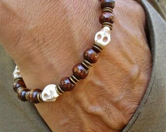 Rocker Man Bracelet with Off-White Howlite Skulls, Brown Wood, Antique Brass Rondelles - Steampunk Man Bracelet - Hippie Man Bracelet