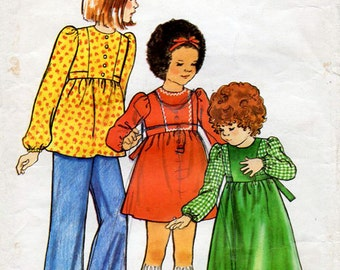 1970s Girl's Dress, Top and Pants Pattern Butterick 3455 Child's Boho Vintage Sewing Pattern Size 6
